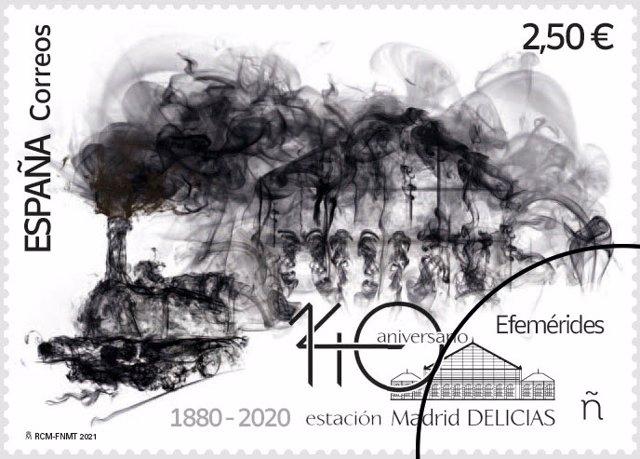 Sello conmemorativo del 140 aniversario de la estación Delicias de Madrid