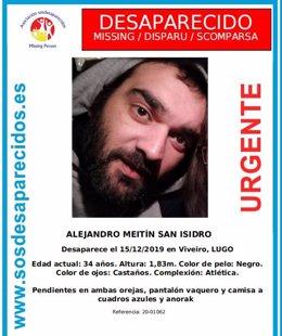 Cartel del desaparecido Alejandro Meitín de Viveiro (Lugo).