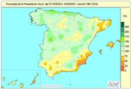 Las lluvias acumuladas en España entre el 1 de octubre de 2020 y el 2 de marzo de 2021 están un 1% por encima del valor normal.