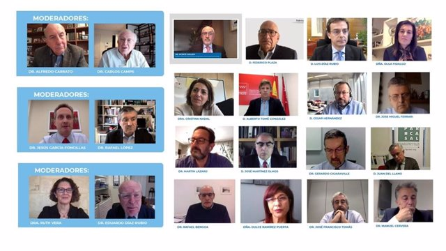 """Ponentes y moderadores durante el  IX Foro ECO 'Los retos de la """"sostenibilidad"""" del SNS: horizontes de futuro', organizado por la Fundación ECO."""