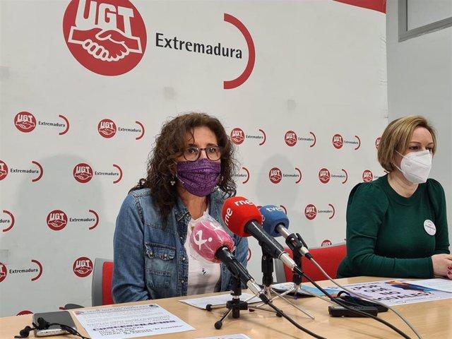 La secretaria general de UGT Extremadura, Patro Sánchez, en rueda de prensa con motivo del 8M