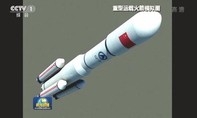 Ilustraciòn artística del futuro cohete lunar chino