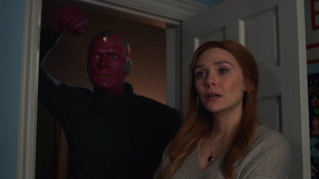 Paul Bettany es Vision  y Elizabeth Olsen es Wanda Maximoff en WandaVision: Tiene escena post-créditos