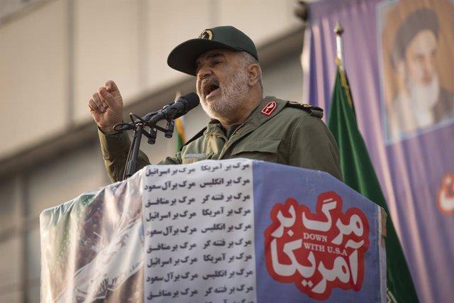 Archivo - El jefe de la Guardia Revolucionaria de Irán, Hosein Salami