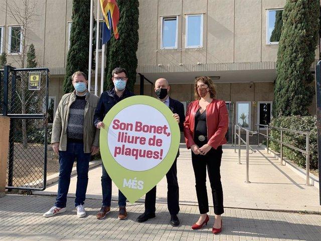 El coordinador de MÉS per Mallorca, Antoni Noguera, en el acto contra el parque fotovoltaico de Son Bonet.