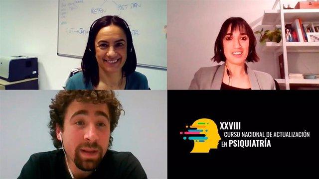 Nagore Iriarte, Sara Maldonado-Martín y  Mikel Tous-Espelosin durante el taller Actividad Física y Depresión, impartido en el XXIX Curso Nacional de Actualización en Psiquiatría.