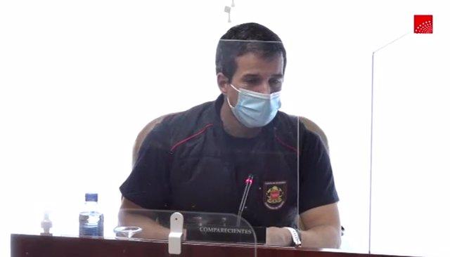 Agustín de la Herrán Souto, Jefe del Cuerpo de Bomberos de la Comunidad de Madrid, comparece en la comisión de investigación de Residencias y Covid-19 de la Asamblea de Madrid