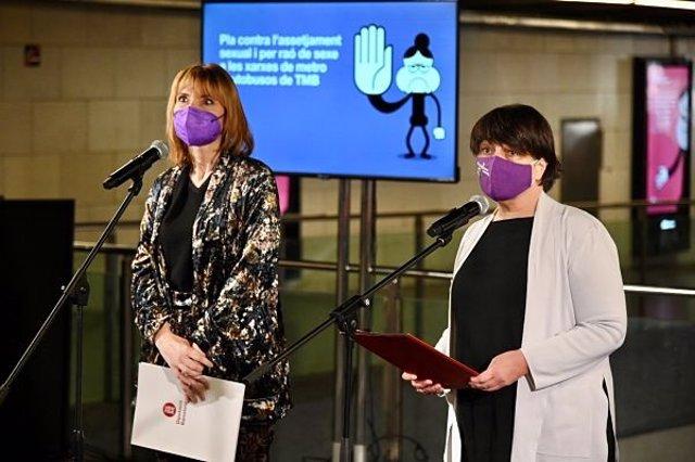 La diputada de Cohesión Social, Ciudadanía y Bienestar de la Diputación de Barcelona, Lluïsa Moret, y la presidenta de TMB y concejal de Movilidad de Barcelona, Rosa Alarcón.