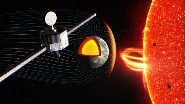 Ilustración del orbitador BepiColombo MIO observando el entorno de plasma cerca de la superficie de Mercurio.