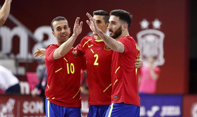 Archivo - Triunfo de la selección española de fútbol sala sobre Letonia (7-0) en la primera jornada de la fase de clasificación para la Euro 2022 de los Países Bajos, en un partido disputado en el Pabellón de la Ciudad del Fútbol de Las Rozas