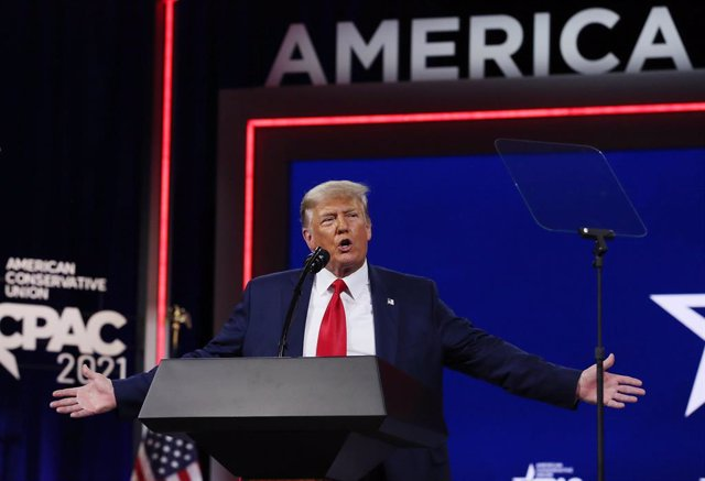 28 February 2021, US, Orlando: Former US President Donald Trump speaks during the Conservative Political Action Conference (CPAC) 2021 at the Hyatt Regency. In his first public appearance since leaving office, former US President Donald Trump has ruled ou