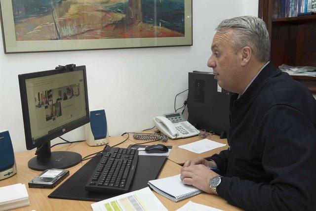 Ruiz Boix reunido telemáticamente en su despacho de Diputación