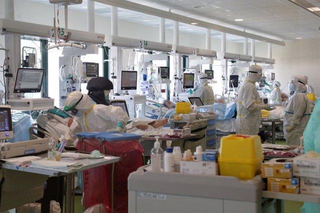Archivo - Pacientes con COVID-19 en una UCI en un hospital en Bolonia
