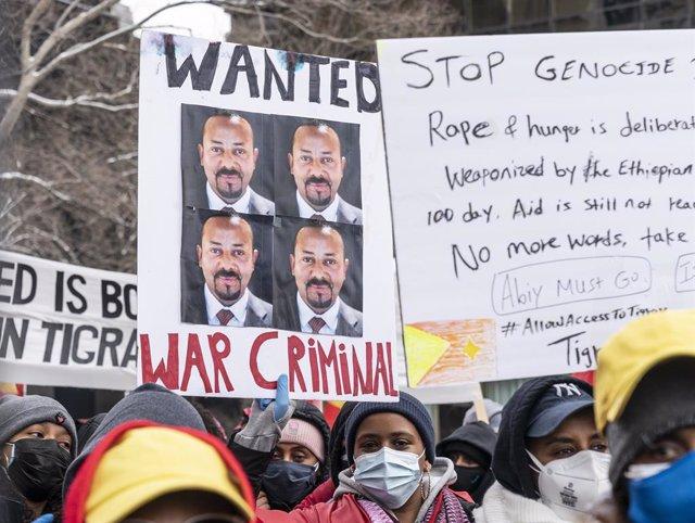 Protesta en Nueva York contra la ofensiva de las fuerzas etíopes en Tigray