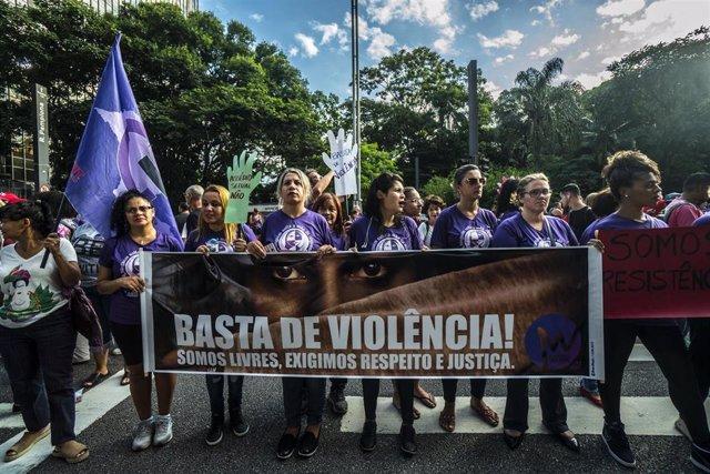 Marchas por el Día de la Mujer en Sao Paulo Brasil (2019).