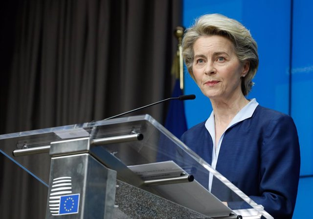 HANDOUT - 26 February 2021, Belgium, Brussels: European Commission President Ursula von der Leyen speaks during an online press conference with European Council President Charles Michel (not pictured) after the end of the online EU special summit on the C