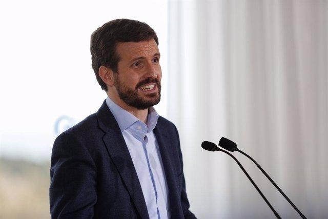 El presidente del Partido Popular, Pablo Casado interviene durante un acto de campaña del PP para las elecciones a la Generalitat del 14-F, en Tarragona, Catalunya (España), a 9 de febrero de 2021.