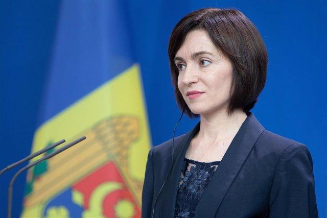 Archivo - La presidenta de Moldavia Maia Sandu.