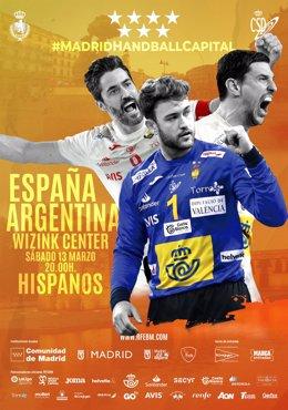 Cartel amistoso España-Argentina de balonmano