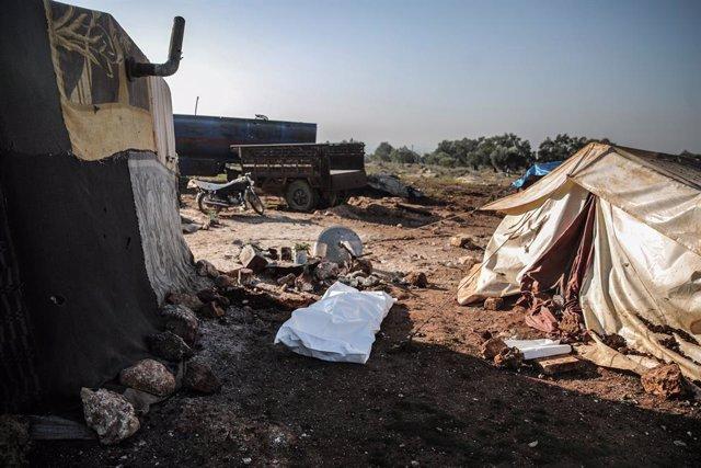 Archivo - Una zona bombardeada a finales de enero en la región de Alepo, en el norte de Siria