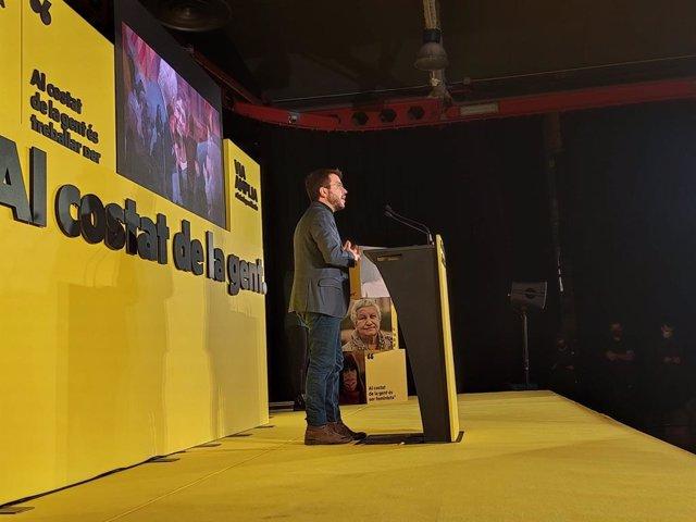 El vicepresident de la Generalitat en funcions i candidat d'ERC a la Presidència, Pere Aragonès