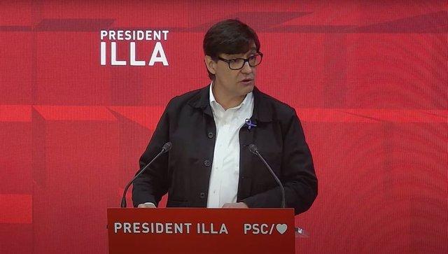 El candidat del PSC a la Presidència de la Generalitat, Salvador Illa, en la seva intervenció durant el Consell Nacional del PSC aquest dissabte.