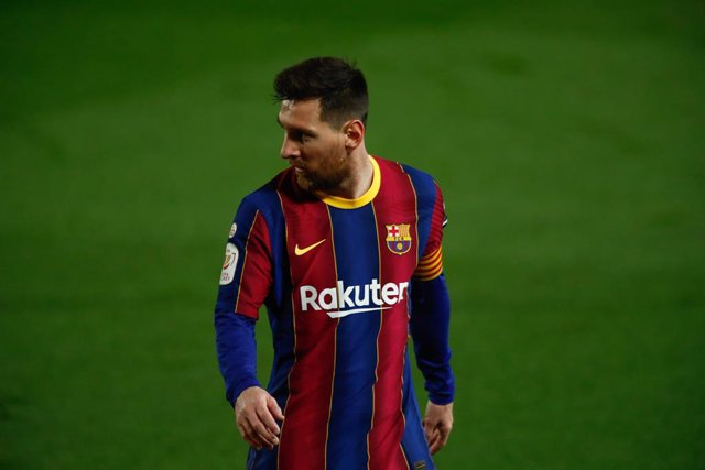 BARCELONA, SPAIN - MARCH 03: 10  Leo Messi of FC Barcelona in action during the Spanish cup, Copa del Rei, football match played between FC Barcelona and Sevilla FC at Camp Nou Stadium on March 03, 2021 in Barcelona, Spain.