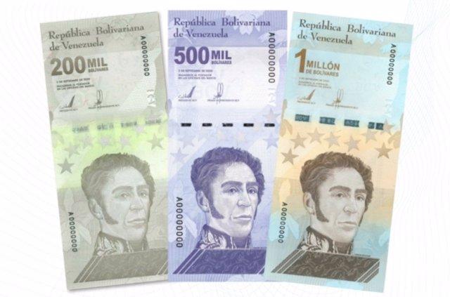 Nuevos billetes de 200.000, 500.000 y un millón de bolívares en Venezuela