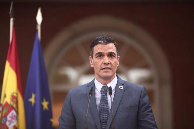 El president del Govern central, Pedro Sánchez, ofereix una roda de premsa a La Moncloa després de participar en la reunió del Consell Europeu Extraordinari sobre el coronavirus, a Madrid (Espanya), 26 de febrer del 2021.