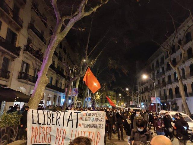 Manifestantes de Barcelona en la Ronda Sant Pere