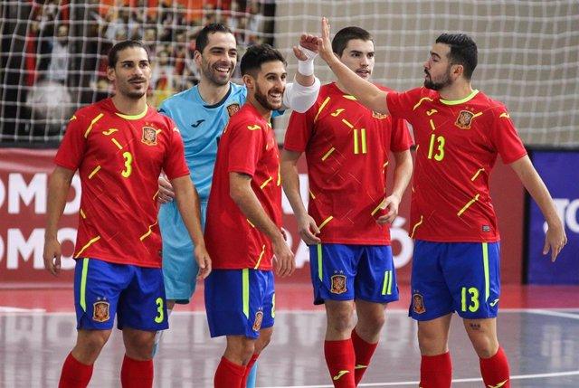 Archivo - La selección española de fútbol sala vence a Eslovenia 1-2