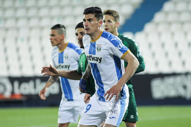 Luis Perea of Leganes during spanish second division Liga SmartBank football match played between CD Leganes and CD Castellón at Municipal de Butarque stadium on March 06, 2021 in Leganes, Madrid, Spain.