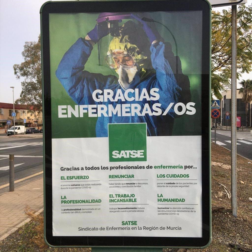SATSE agradece públicamente a las enfermeras el trabajo contra la Covid-19 en vallas publicitarias de la Región