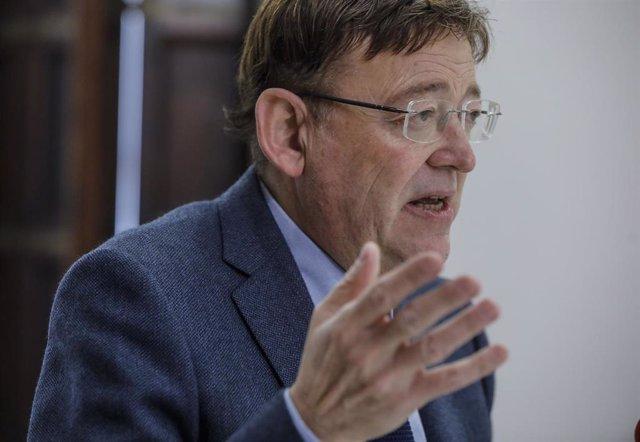 El 'president' de la Generalitat valenciana, Ximo Puig, durante una entrevista con Europa Press el pasado 19 de febrero