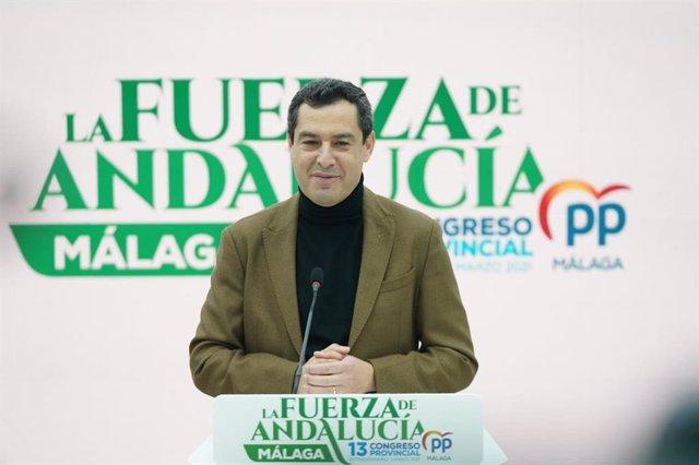 El presidente del PP-A y de la Junta, Juanma Moreno, en Málaga