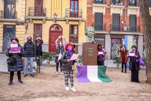 El Movimiento Feminista de Madrid en una acción a favor de la abolición de la prostitución