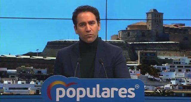 El secretario general del PP, Tedoro García Egea, participa en el Congreso del PP de Ibiza.