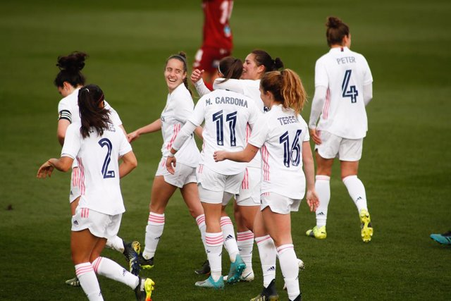 Marta Cardona of Real Madrid celebrates a goal during the spanish women league, Primera Iberdrola, football match played between Real Madrid and RDF Logrono at Ciudad Deportiva Real Madrid on March 3, 2021, in Valdebebas, Madrid, Spain.
