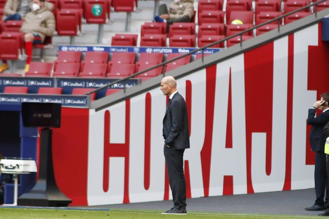 Zinedine Zidane, head coach of Real Madrid, looks on during the spanish league, La Liga Santander, football match played between Atletico de Madrid and Real Madrid at Wanda Metropolitano stadium on March 7, 2021, in Madrid, Spain.
