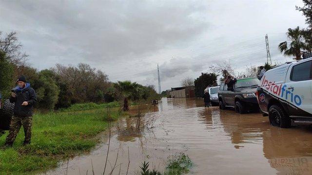 Inundaciones este domingo en Los Barrios.