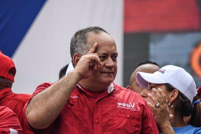Archivo - El vicepresidente del Partido Socialista Unido de Venezuela (PSUV) , Diosdado Cabello, durante un acto de campaña en Caracas, Venezuela
