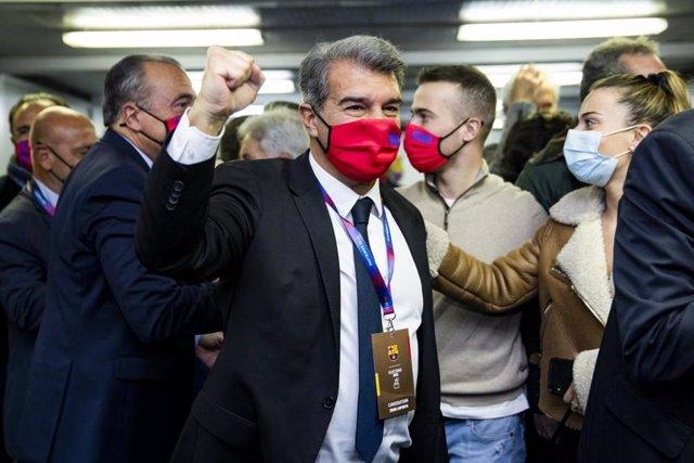 Joan Laporta, guanyador de les eleccions a la presidència del FC Barcelona celebrades el diumenge 7 de març de 2021, i que serà de nou president després de governar el club de 2003 a 2010 prèviament
