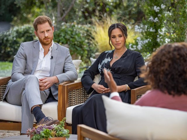 HANDOUT - 04 March 2021, ---: An Undated picture provided by Harpo Productions shows Prince Harry Duke of Sussex, and his wife Meghan, Duchess of Sussex, during their interview with Oprah Winfrey. Photo: Joe Pugliese/Harpo Productions via PA Media/dpa - A