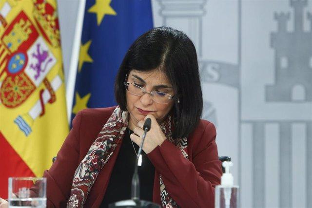 La ministra de Sanidad, Carolina Darias, ofrece una rueda de prensa tras la reunión del Consejo Interterritorial del Sistema Nacional de Salud, en Madrid (España), a 3 de marzo de 2021. Según ha informado Darias, este fin de semana van a llegar a España 5