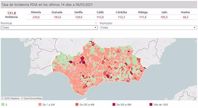 Mapa de Andalucía con niveles de incidencia del Covid-19 por municipios a 8 de marzo de 2021