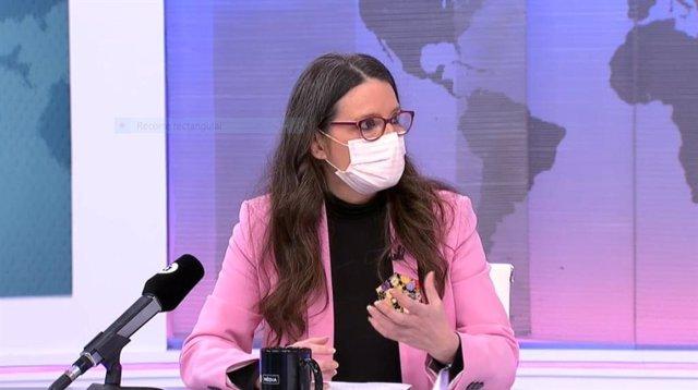 Mónica Oltra, durante la entrevista en Àpunt