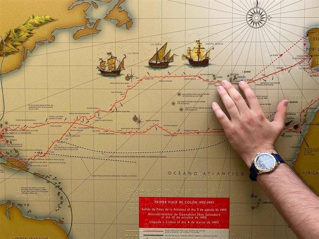 Mapa del primer viaje de Colón a América