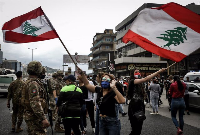 Archivo - Protesta en Líbano contra la crisis económica
