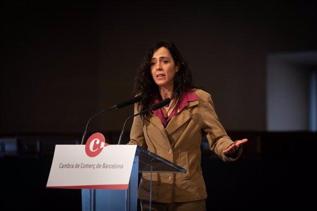 La nova presidenta de la Cambra de Comerç de Barcelona, Mònica Roca, aquest dilluns a la Llotja de Mar