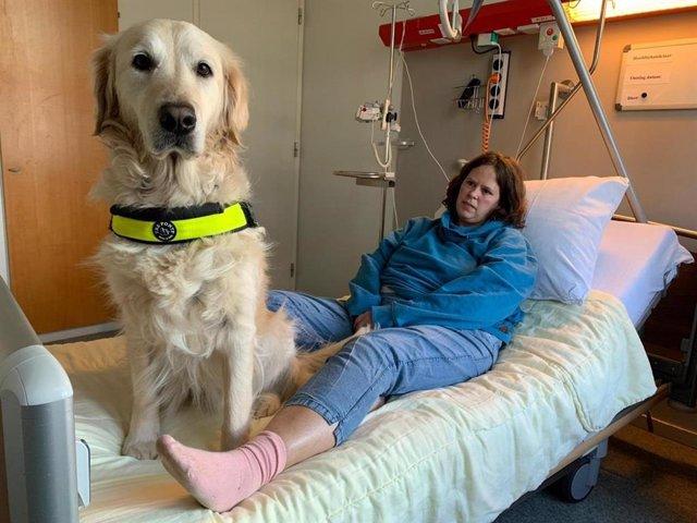 Iris, usuaria de un perro de asistencia, y su perra Sandy en la sala de recuperación tras la operación. Tras un grave ataque epiléptico, Iris no estaba bien y se trajo a Sandy al hospital con la esperanza de que pudiera ayudar a mejorar el estado de Iris.